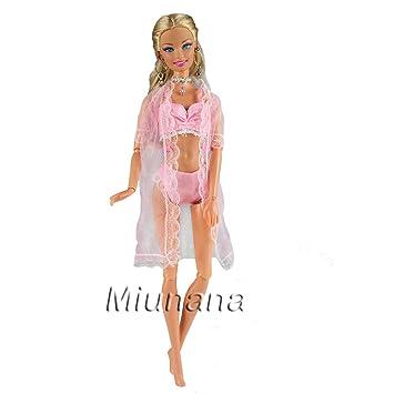 Amazon.es: Miunana 1 Pijama con Encaje Ropa Interior Sujetador y Bragas a Juego para Muñeca Barbie Doll - Rosado: Juguetes y juegos