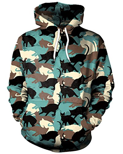 EnlaChic Unisex Simulation 3D Unicorn Print Pullover Hoodie Hooded Sweatshirt,Camo Cat,XL