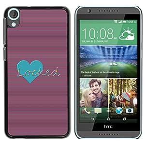 For HTC Desire 820 Case , Teal Love Locked Stripes Lines Heart - Diseño Patrón Teléfono Caso Cubierta Case Bumper Duro Protección Case Cover Funda