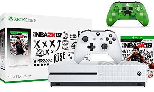 Microsoft Xbox One S 1TB NBA 2K19 Bundle + Xbox Wireless Controller – Minecraft Creeper | Include:Xbox One S 1TB Console ,NBA 2K19 Full-Game, Wireless Controller