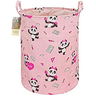 HUNRUNG Large Canvas Fabric Lightweight Storage Basket Toy Organizer Dirty Clothes Collapsible Waterproof for College Dorms, Kids Bedroom,Bathroom,Laundry Hamper (Pink-Book Panda)