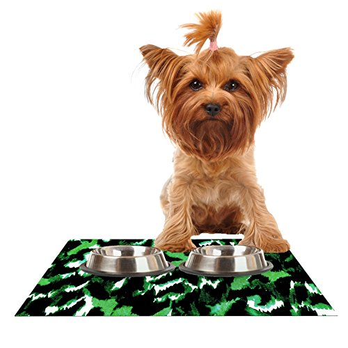 KESS InHouse Ebi Emporium Wild at Heart-Green  Emerald Feeding Mat for Pet Bowls, 18 by 13-Inch