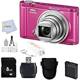 Casio Exilim EX-ZR3600 EX-ZR3600VP Selfie Digital Camera (Vivid Pink) + 8GB Memory Card + Reader + Camera Case + Bonus Fumfie Powerbank Keychain & More