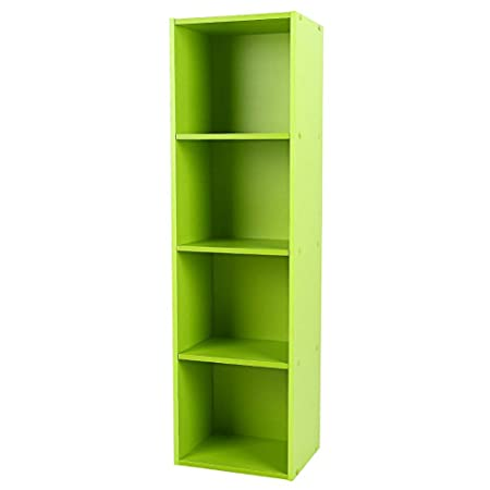 Yosoo Wood Display Shelf Storage Bookshelf 3 4 Tier Bookcase Stand Rack Cube Unit 4 Cubes, Green