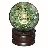 Crocon Green Aventurine Orgone Sphere Ball Tree of Life Symbol Energy Generator For Reiki Healing Chakra Balancing & EMF Protection Size: 50-60mm