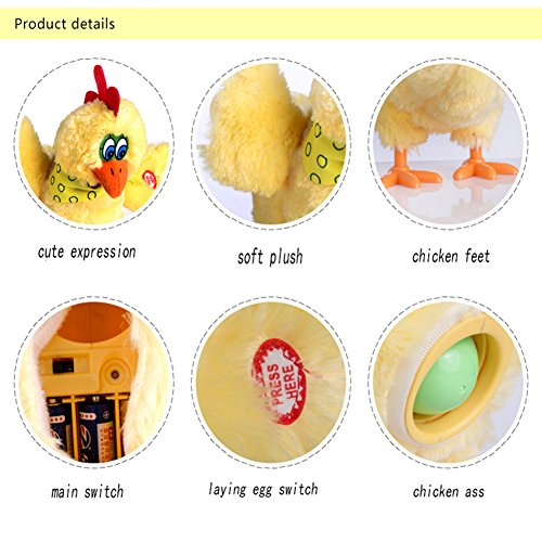 Weasi Laying Eggs Chicken With Sound Music and Dancing, Interactive Plush Electronic Toy For Kids Baby