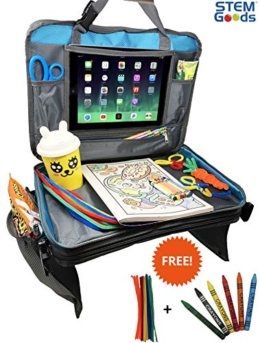 Kids Travel Tray with Tablet Holder, Storage Organizer, Portable Carrying Bag. Crayon & Pipe Cleaner Included! (Blue)
