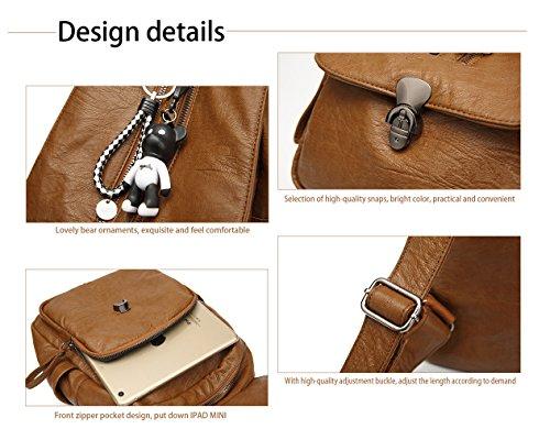 Girls Ladies HopeEye for Soft Shoulder Leather Grey Backpack Pu Light Women Cute Bags Tote wqA1HqB