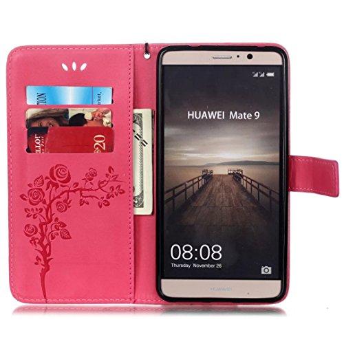 SRY-Conjuntos de teléfonos móviles de Huawei Para Huawei Mate 9, con cordón, ranura para tarjetas, impresión de hebilla magnética Flat Phone Shell Proteja completamente el teléfono ( Color : Black ) Rose