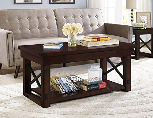 """Ameriwood Home Wildwood Wood Veneer Coffee Table, Mahogany Espresso - Ameriwood Home Wildwood Wood Veneer Coffee Table brings style and functionality together This coffee table offers a top surface for displaying decorative accents and snacks close by and a bottom shelf to keep your larger, bulkier books or magazines Two adults are recommended for proper assembly. Dimensions: 20.125""""h x 43.875""""w x 22""""d. Shipping weight is approximately 80 lbs - living-room-furniture, living-room, coffee-tables - 51PM4mNgaAL -"""