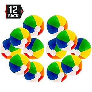 """Big Mo's Toys 16"""" Rainbow Color Party Pack Inflatable Beach Balls - Beach Pool Party Toys (12 Pack)"""