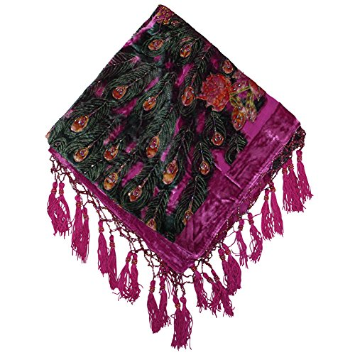 Triangle Fashion Burnout Velvet Shawl Wrap Scarf Medallion Fringes Crochet Design Fuchsia