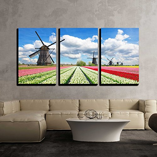 wall26 - 3 Piece Canvas Wall Art - Vibrant Tulips Field with Dutch Windmills, Netherlands. Beautiful Cloudy Sky - Modern Home Decor Stretched and Framed Ready to Hang - 16