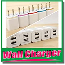 USB DUAL PORT wall adapter -Wholesale LOT 50--100--200 Adapter 1A-1000 MAH-Islamic Gifts 123-Home Travel USB Wall Charger Power Adapter for iPhone,Samsung Galaxy, LG, Motorola,,- WHITE (50)