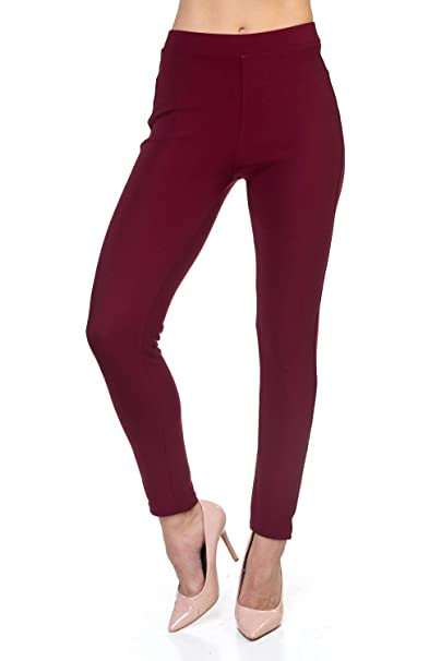 43332a376cea9 All Day Stretch Comfort Scuba Burgundy Leggings for Women- Premium Dressy  Leggings (Burgundy,