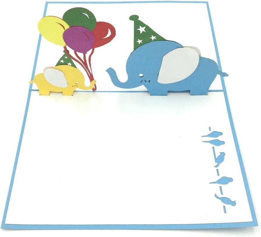 Elephant 3D Pop Up Greeting Card Handmade Kirigami Card All Occasion Animal Zoo