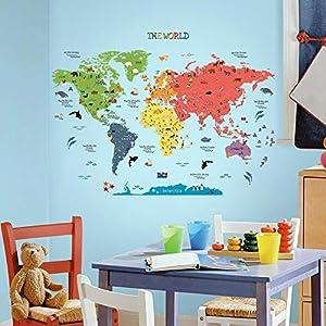 HomeEvolution – Adhesivos de pared para habitación infantil, diseño de mapamundi educativo