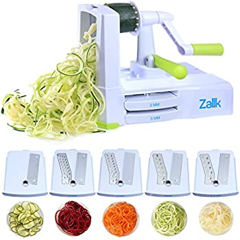 Zalik 5-Blade Spiralizer - Vegetable Spiral Slicer With Powerful Suction Base - Strong & Heavy Duty Veggie Pasta Spaghetti Maker for Low Carb/Paleo/Gluten-Free Meals With Extra Blade Caddy