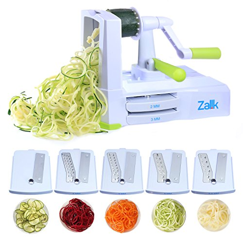 (Zalik 5-Blade Spiralizer - Vegetable Spiral Slicer With Powerful Suction Base - Strong & Heavy Duty Veggie Pasta Spaghetti Maker for Low Carb/Paleo/Gluten-Free Meals With Extra Blade Storage Caddy)