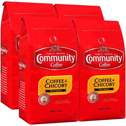 Community Coffee and Chicory Medium Dark Roast Premium Ground 32 Oz Bag (4 Pack), Full Body Rich Flavorful Taste, 100% Select Arabica Beans (Best New Orleans Beignets Recipe)