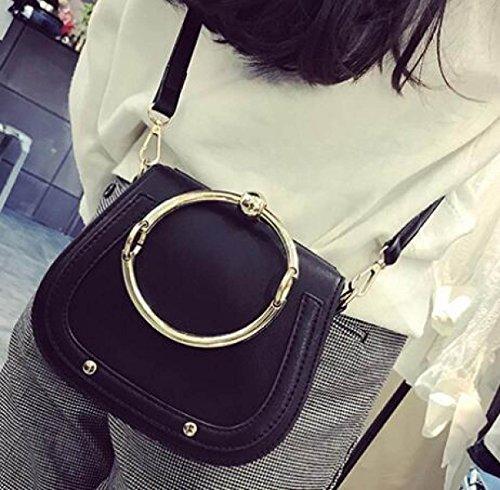 Nuevo Simple Salvaje Casual Bolsos Portátiles Hombro Messenger Bag Bolso De La Silla De Montar Black