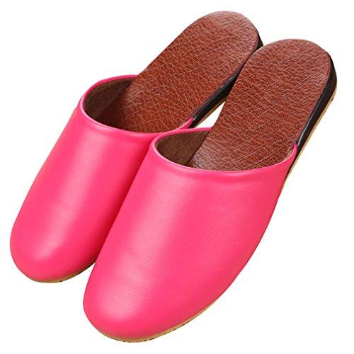 Cattior Donna Comode Pantofole Da Donna Per Esterni In Pelle Per Casa Scarpe Rosse