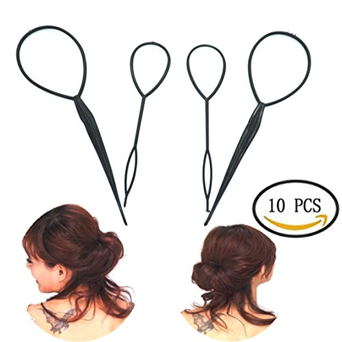 Braid And Ponytail (IDS 10 Pcs Topsy Tail Hair Braid Ponytail Maker Styling Tool, Black)