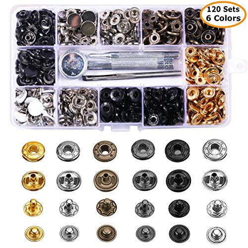 er Kit Button Tool, MSDADA Leather Snap Buttons Press Studs with 6PCS Clothing Snaps Kit Fixing Tools, Metal Snaps for Clothing Leather Craft Bracelet Jeans Wear Jacket Bags Belt ()