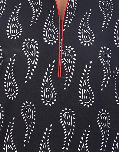 Top da donna Kurta cotone mano Block stampato nero lungo Kurti argento-nero - Large