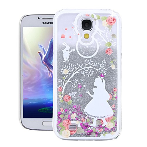 Galaxy S4 Case,Samsung S4 Case,EMAXELER 3D Creative Angel Girl Flowing Liquid Floating Bling Shiny Liquid Polycarbonate Hard Case for Samsung Galaxy S4+Stylus Pen,White Dress Girl--Silver Liquid