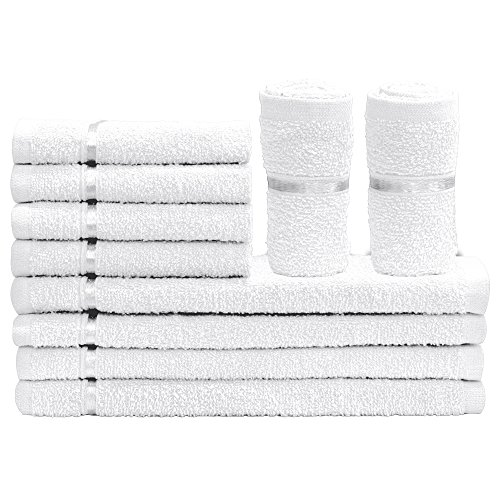 Story@Home Solid 10 Piece 450 GSM Rectangular Cotton Face Towel Set – White