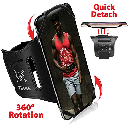 TRIBE Running Phone Holder Sports Armband. iPhone Cellphone Arm Band for Women & Men. 360° Rotation & Detachable…