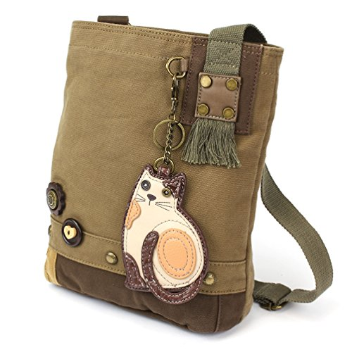 Chala LaZzy Cat Patch Canvas Cotton Messenger Bags with 6 Color Options (Olive) by CHALA (Image #5)