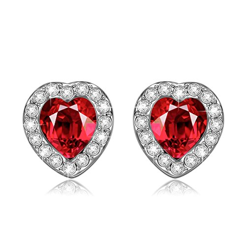 [LadyColour -True Love- Swarovski Crystals Ruby Heart Stud Earrings,Jewelry For Birthday,Anniversary] (Best Halloween Couple Costumes)