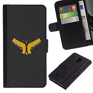 NEECELL GIFT forCITY // Billetera de cuero Caso Cubierta de protección Carcasa / Leather Wallet Case for Samsung Galaxy Note 4 IV // Cazador