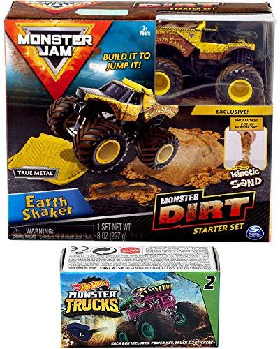 Hot Wheels Shaker Dirt Truck Crew Monster Jam Earth Construction Kit Action 2019 Jump Sand Bundled Blind Box Series Mini Monster Truck with Launcher (Jam Monster Madusa)