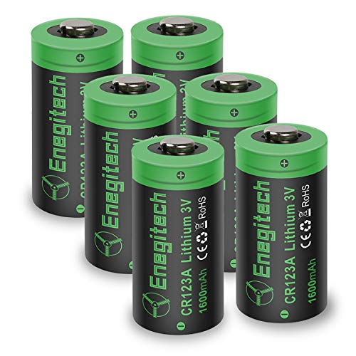 CR123A 3V Lithium Battery, Enegitech 6Pack CR123A Batteries 1600mAh Non-Rechargeable with PTC Protection for Photo Camera Torch Microphones Flashlight