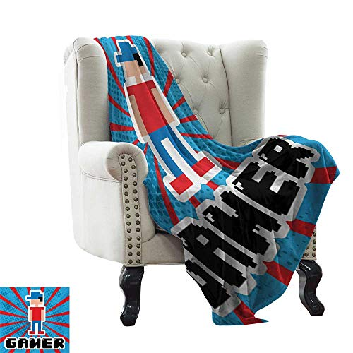 Anyangeight Video Games,Digital Printing Blanket,Blue and Red Striped Boom Beams Retro 90s Toys Boy with Cap 70