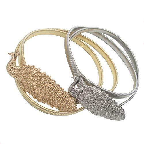 Dresses belts for women,2Pcs Adjustable Metal Peacock Stretchy Elastic Waist Belts Silver Gold Decor Skirts Belts (Peacock) -