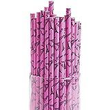Pink I Love Paris Disposable Drinking Straws - 24 pcs