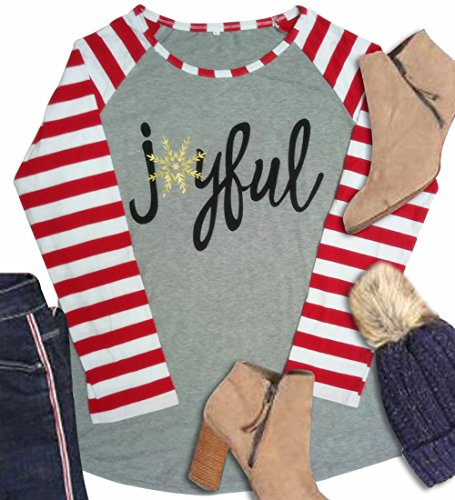 Women Christmas Joyful Snowflake T-shirt Top Stripe Sleeve Baseball Shirt size US 10-12/Tag Size L - Christmas Shirts