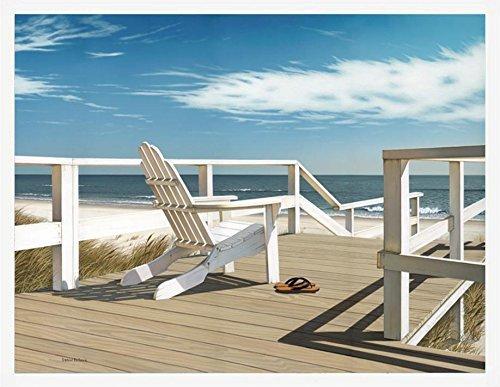 Buyartforless Framed Sun Deck by Daniel Pollera 32x24 Art Print Poster Ocean Beach Adirondack Chairs Coastal White Frame