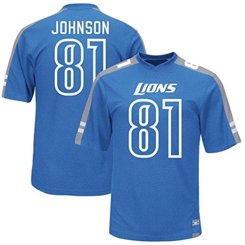 Detroit Lions Calvin Johnson #81 Majestic Mens Hashmark Jersey Blue Big & Tall Sizes ()