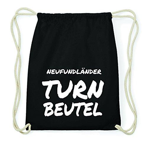 JOllify NEUFUNDLÄNDER Hipster Turnbeutel Tasche Rucksack aus Baumwolle - Farbe: schwarz Design: Turnbeutel P8EfbjUD0f