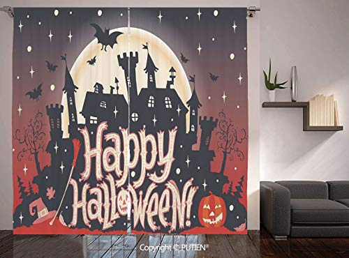 Thermal Insulated Blackout Window Curtain [ Halloween,Medieval Gothic Castle with Happy Halloween Typography Stars Bats Moon Cheerful,Multicolor ] for Living Room Bedroom Dorm Room Classroom Kitchen C -