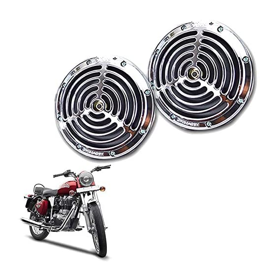 Vheelocityin Vheelocityin Small Size Silver Grill Horn for All Bike/Scooter (Set of 2) for Royal Enfield Bullet Electra