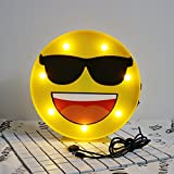 Emoji Sunglasses LED Table Lamps, Decorative LED Marquee Sign, Bedroom Kids room Night Light with Battery Operated & USB Charger