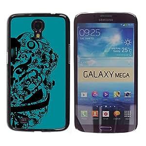 TopCaseStore / la caja del caucho duro de la cubierta de protección de la piel - Abstract Floral Design - Samsung Galaxy Mega 6.3 I9200 SGH-i527