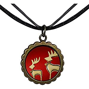 Chicforest Bronze Retro Style Mother and Child Christmas Reindeer Round Flower Pendant