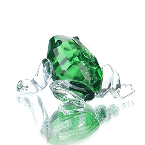 Frog Figurine - H&D Small Crystal Frog Figurine Collection Paperweight Table Centerpiece Ornament(Green)